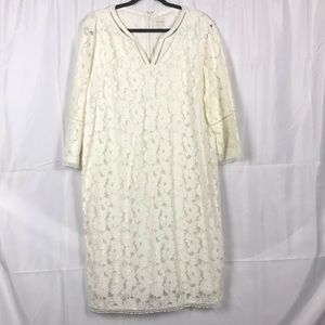 Chico's yellow size 4 Floral lace short dress
